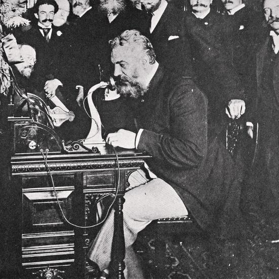 Alexander Graham Bell makes the first telephone call between New York and Chicago, USA, 1892-Unknown-Photographic Print