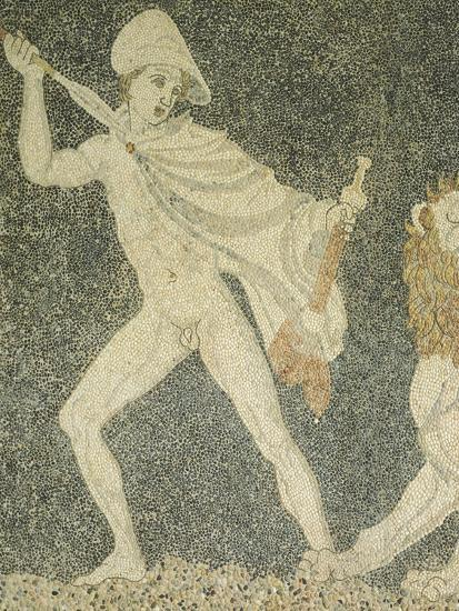 Alexander Great and Hephaestion During Lion Hunt, Ca 320 BC, Mosaic from Peristyle House 1--Giclee Print