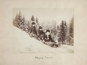Three Tobogganers on a Snowy Hill, 1873 by Alexander Henderson