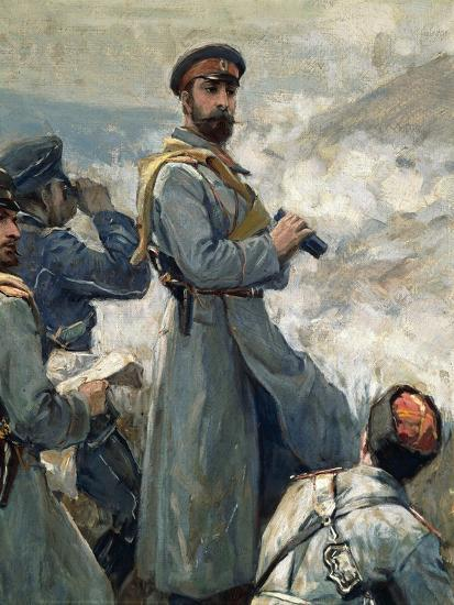 Alexander I of Bulgaria with His Chiefs of Staff Observing Battle of Dragoman, November 23, 1885--Giclee Print