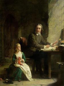 In Bedford Jail - John Bunyan (1628-88) and His Blind Daughter by Alexander Johnston