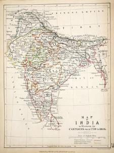 Map of India, Published by William Blackwood and Sons, Edinburgh and London, 1848 by Alexander Keith Johnston