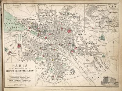 Map of Paris at the Outbreak of the French Revolution, 1789, Published by William Blackwood and…