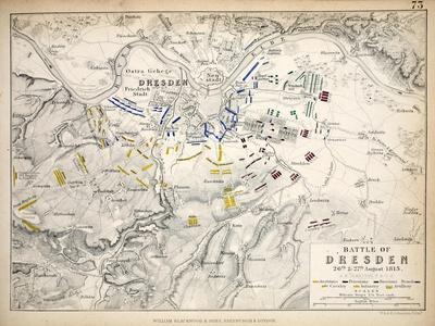 Map of the Battle of Dresden, Published by William Blackwood and Sons, Edinburgh and London, 1848
