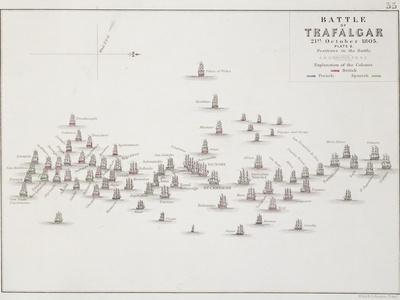 The Battle of Trafalgar, 21st October 1805, Positions in the Battle, circa 1830s
