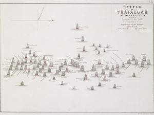 The Battle of Trafalgar, 21st October 1805, Positions in the Battle, circa 1830s by Alexander Keith Johnston