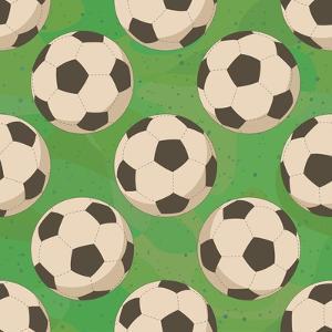 Soccer Balls on Grass, Seamless by Alexander Kulagin