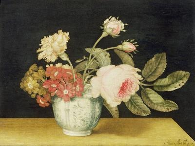 Flowers in a Delft Jar (Oil on Panel)