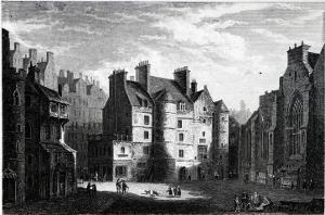 Old Tolbooth Edinburgh, Engraved by Edward Finden by Alexander Nasmyth