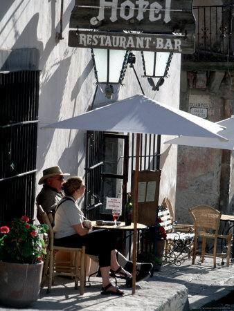 Tourists Drinking Outside a Hotel in Real de Catorce, Mexico