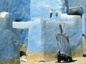 Traditional Blue Woven, Brocade Shawl of Siwa, Egypt by Alexander Nesbitt