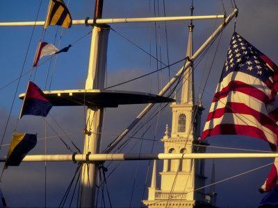 Trinity Church Behind Flags at Bowen's Wharf, Newport, Rhode Island, USA