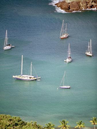 Yachts Anchor in British Harbor, Antigua, Caribbean