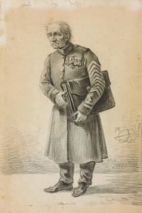 A Veteran of the Imperial Russian Army, 1837 (Pencil and Charcoal on Paper) by Alexander Orlowski