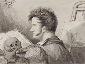 Self-Portrait as a Young Man with Skull, (Pencil, Ink and W/C on Paper) by Alexander Orlowski