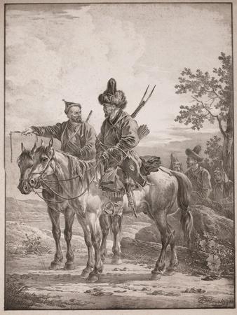 Two Bashkirs on Horseback; or Two Cossacks on Horseback, 1820