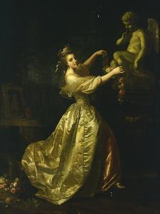 Young Woman Decorating the Statue of Love by Alexander Roslin