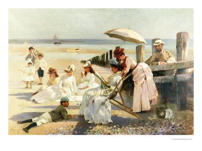 On the Shores of Bognor Regis, Portrait Group of the Harford Couple and Their Children, 1887