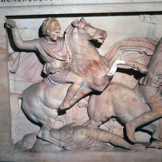 Alexander Sarcophagus, showing Alexander the Great in battle, 4th century-Unknown-Giclee Print