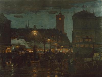 Alexander Square, Berlin, at Night, 1895-Karl Langhammer-Giclee Print