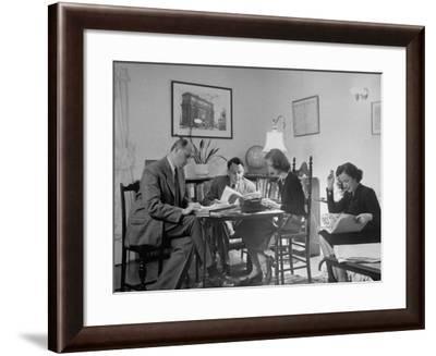 Alexander Szasz and Aladar Szegedy-Maszak Working at Crowded Table-Thomas D. Mcavoy-Framed Premium Photographic Print