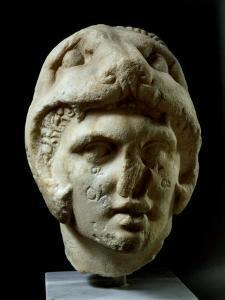 Alexander the Great 356-323 BC, Pentelic Marble Head Wearing Lion Head Helmet