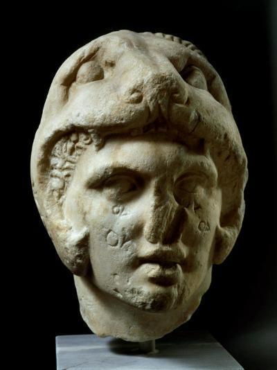Alexander the Great 356-323 BC, Pentelic Marble Head Wearing Lion Head Helmet--Photographic Print