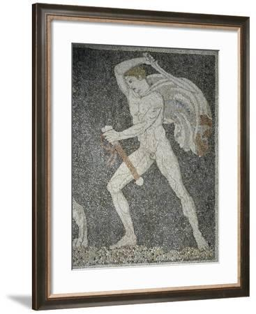 Alexander the Great and Hephaestion During Lion Hunt, Ca 320 Bc, Mosaic from Peristyle House 1--Framed Giclee Print