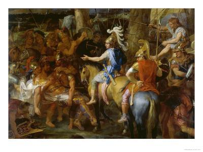Alexander the Great and Poros-Charles Le Brun-Giclee Print