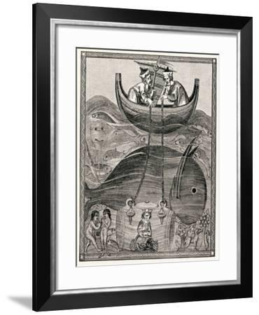 Alexander the Great Making Underwater Observations in a Glass Barrel, 4th Century BC--Framed Giclee Print