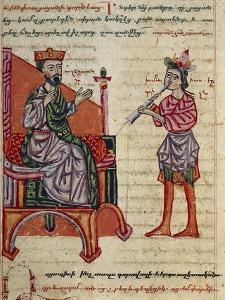 Alexander the Great on the Throne, Miniature from the History of Alexander the Great