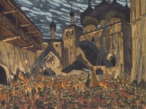Stage Design for the Opera the Maid of Pskov by N. Rimsky-Korsakov by Alexander Yakovlevich Golovin