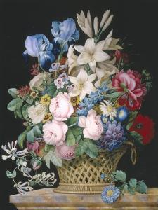 Rich Still Life of Flowers in a Basket by Alexandre-Francois Desportes