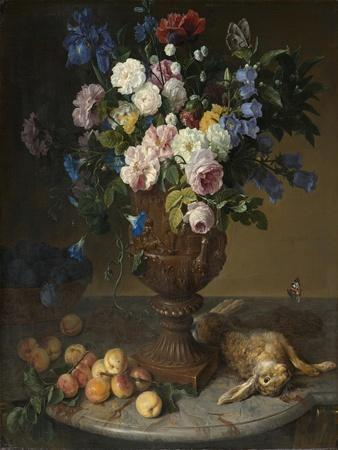 Urn of Flowers with Fruits and Hare, 1715