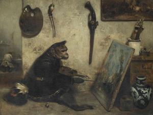 Le Singe peintre dit Intérieur d'atelier by Alexandre Gabriel Decamps