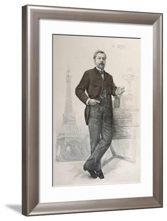 Alexandre Gustave Eiffel Posing by His Desk with a Drawing of the Tour Eiffel--Framed Giclee Print