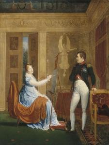 L'impératrice Marie-Louise faisant le portrait de Napoléon Ier by Alexandre Menjaud