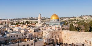 Temple Mount, Dome of the Rock, Redeemer Church and Old City, Jerusalem, Israel, Middle East by Alexandre Rotenberg