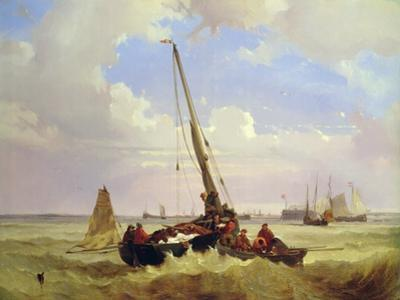 Fishing vessels off Calais, 19th century by Alexandre T. Francia