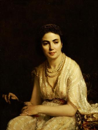 Portrait of a Woman Wearing a Pearl Necklace and Holding a Fan