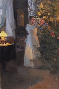 Decorating the Christmas Tree, 1910 by Alexej Korin