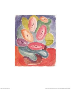 Abstract Pink and Green Flowers, c.1914-15 by Alexej Von Jawlensky