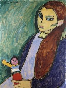 Girl with Doll by Alexej Von Jawlensky