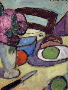 Still Life with Chair and Bouquet; Stilleben Mit Stuhl Und Blumenstrasse, 1906 by Alexej Von Jawlensky