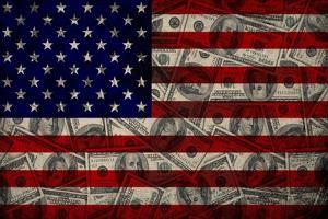 American Flag And Dollars by alexfiodorov