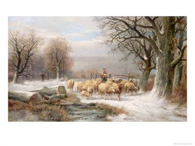Shepherdess with Her Flock in a Winter Landscape