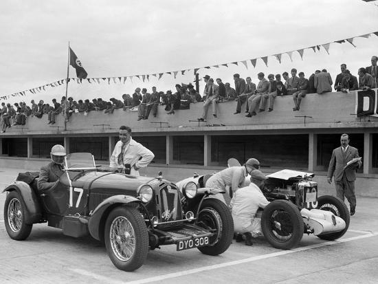 Alfa Romeo and supercharged MG Midget on the start line at Brooklands, 1938 or 1939-Bill Brunell-Photographic Print