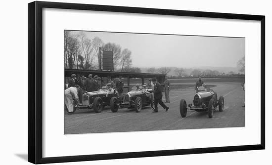Alfa Romeo and two Bugatti Type 35s on the start line, Donington Park, Leicestershire, 1935-Bill Brunell-Framed Photographic Print