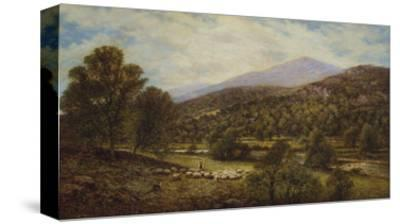 A Wooded River Landscape with a Shepherd and Sheep