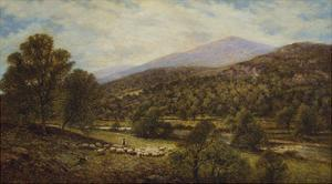 A Wooded River Landscape with a Shepherd and Sheep by Alfred Augustus Glendening